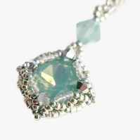 Sea Green Crystal Pendant on a Sterling Silver Chain