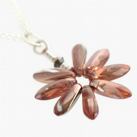Copper Glass Daisy Pendant on a Silver Plated Chain