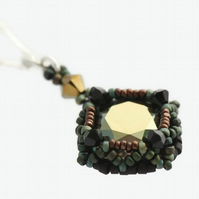 Bronze and Green Crystal Pendant Necklace