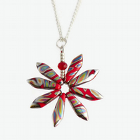 Red Daisy Flower Pendant Necklace