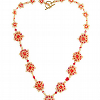 Necklace - red and yellow beaded roses