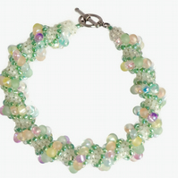 Pastel Spiral Bracelet - Green Pink and Yellow
