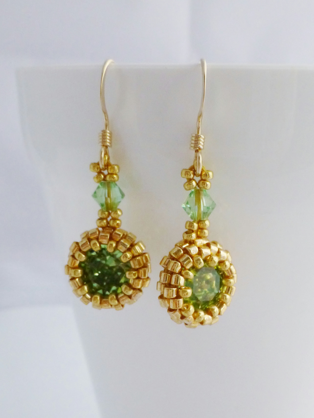 Earrings - Peridot Green Crystal with Gold Filled Earwires