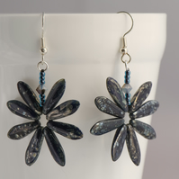 Night Sky Earrings, Midnight Blue Starburst Earrings