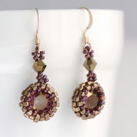 Purple and Bronze Crystal Drop Earrings