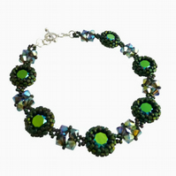 Dark Green bracelet with Swarovski crystals and Sterling Silver Clasp