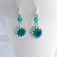 Turquoise Crystal Earrings, Small Sterling Silver Earrings