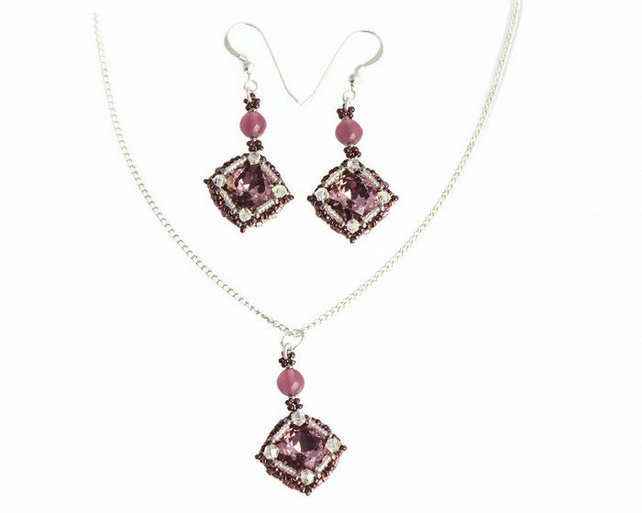 Purple Crystal Gift Set - Matching Necklace and Earrings