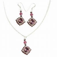 Amethyst Purple Crystal Gift Set - Matching Necklace and Earrings