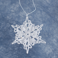 Hanging Snowflake Decoration with Swarovski Crystals