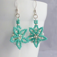 Turquoise and Silver Beadwork Flower Earrings