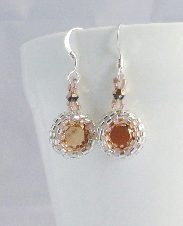 Rose Gold Crystal Drop Earrings with Swarovski Crystal