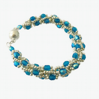 Silver and Blue Beaded Rope Bracelet - with Magnetic Clasp
