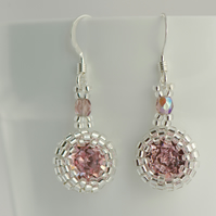 Antique Rose Crystal Earrings, Small Pink Drop Earrings