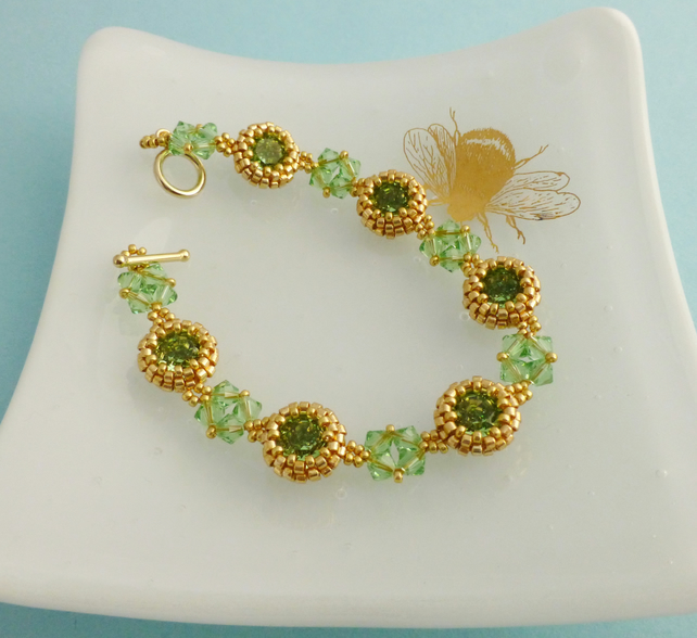 Peridot and Gold Crystal Bracelet