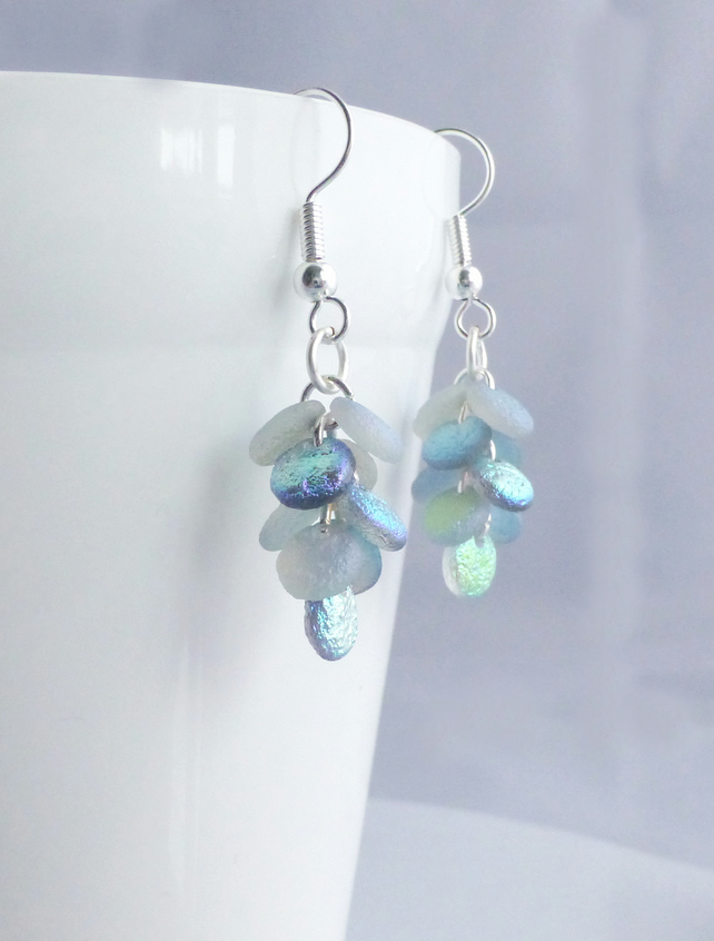 Mermaid Tail Earrings - Iridescent Glass Cascade Earrings