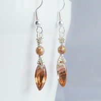 Copper Glass Twisted Drop Earrings