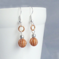 Rose Gold and Silver Dangle Earrings
