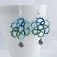Sea Green Lace Earrings with Fish Charms