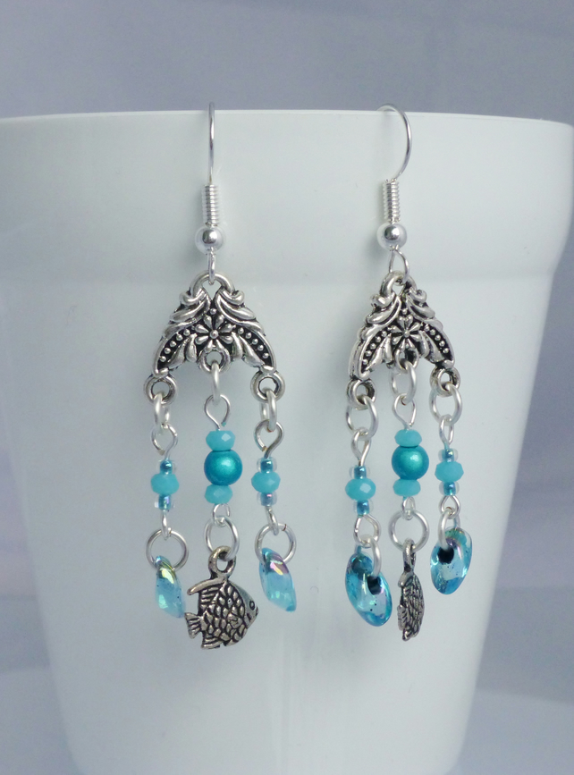 Fish Dangle Earrings with turquoise beads.