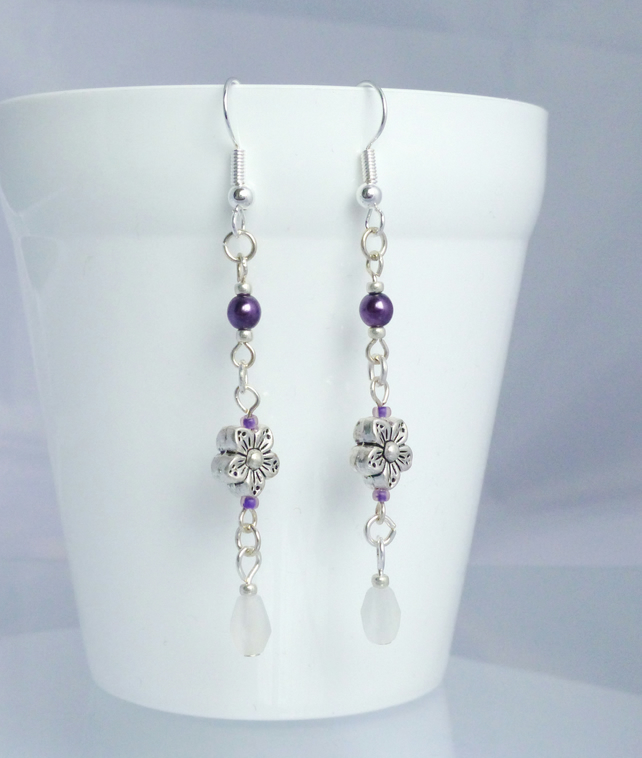 Long Flower Earrings - Purple and Silver