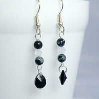 Snowflake Obsidian Dangle Earrings with Swarovski Crystals