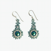 Teal and Silver Glass Pearl Drop Earrings - Sterling Silver