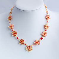 Red and Yellow Beadwork Flower Necklace