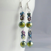 Long Green Crystal Dangle Earrings - Sterling Silver
