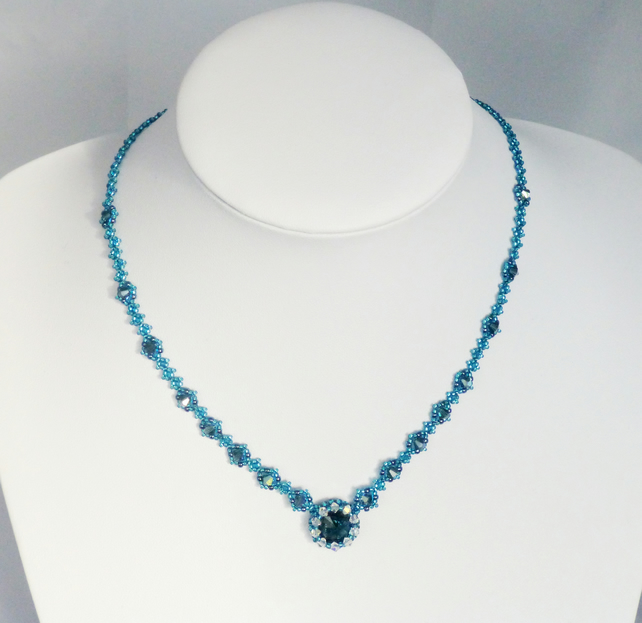 Blue Crystal Beadwork Necklace - Made with Montana Blue Swarovski Crystals