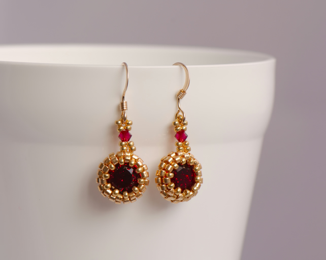 Red and Gold Earrings - with Ruby colour Swarovski Crystals