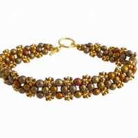 Matte Antique Gold Beaded Bracelet