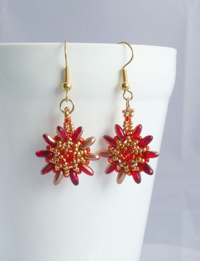Red and Gold Earrings, Beadwork Flower Jewellery