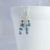 Metallic Blue Crystal and Sterling Silver Dangle Earrings