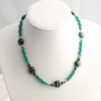 Copper and Emerald Green Beaded Rope Necklace