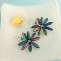 Funky Iridescent Blue Metallic Daisy Earrings