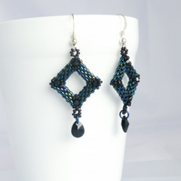 Dark Metallic Diamond Shaped Earrings