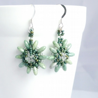 Pale Green and White Flower Earrings