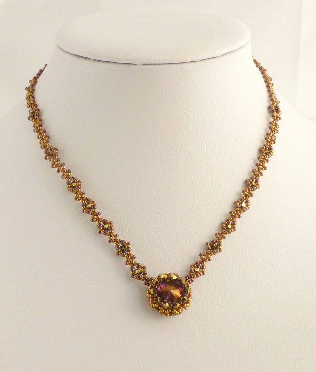 Bronze and Purple Crystal Beadwork Necklace