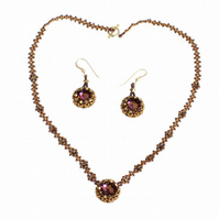 Bronze and Purple Crystal Necklace and Earrings Gift Set