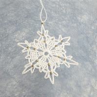White Snowflake Decoration with Antique Gold Crystals