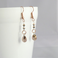 Rose Gold Crystal Peardrop Earrings