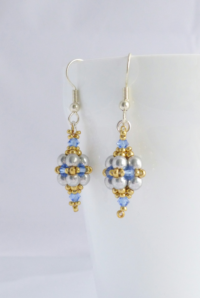 Blue, Silver and Gold Beadwork Dangle Earrings - Sterling Silver