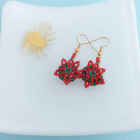Poinsettia Flower Seed Bead Earrings