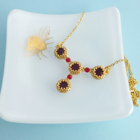 Red and Gold Necklace with Ruby Swarovski Crystals