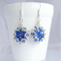 Silver and Blue Starburst Earrings - Sterling Silver