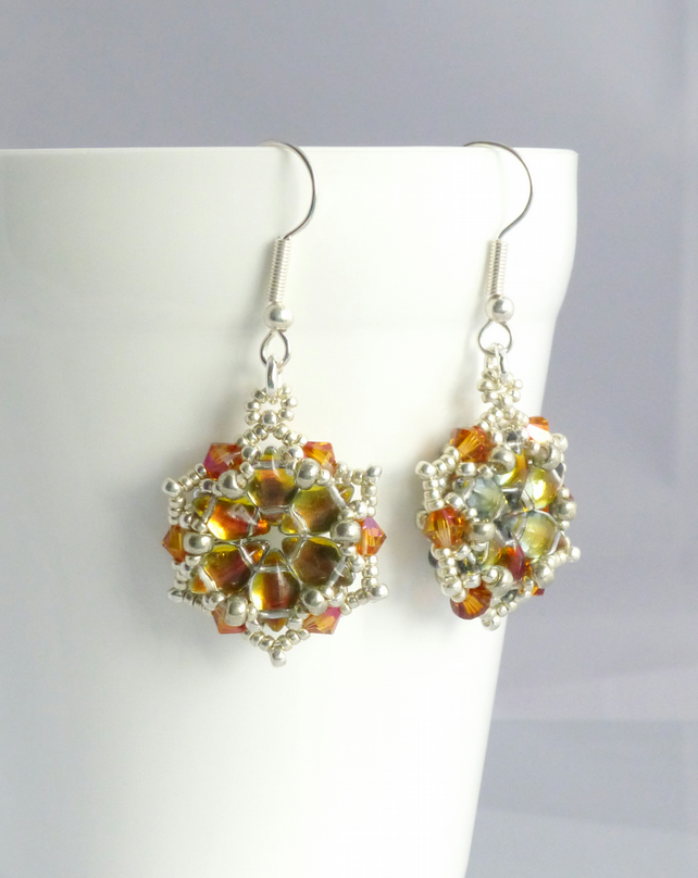 Tequila Sunrise Starburst Earrings - Sterling Silver