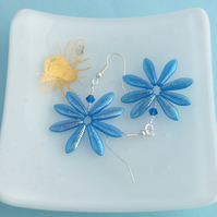 Flower Earrings - Bright Turquoise Blue