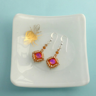 Sunset Crystal Earrings - Vintage Style with Swarovski Crystals