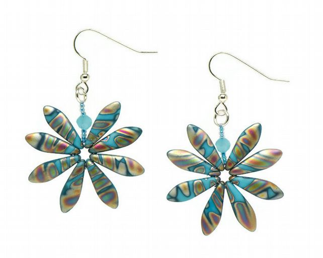 Turquoise Peacock Daisy Earrings, Fun Boho Earrings